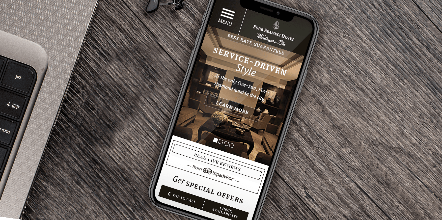 Four Seasons Location Lead Generation Landing Page Mobile Concept
