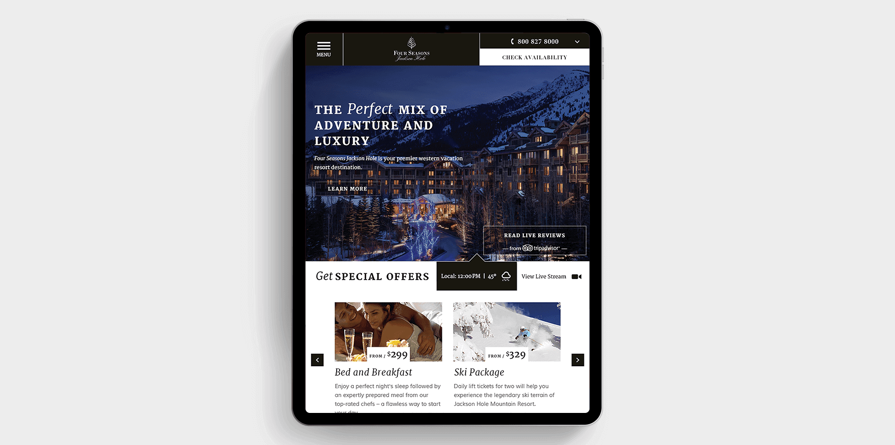 Four Seasons Location Lead Generation Landing Page Tablet Concept