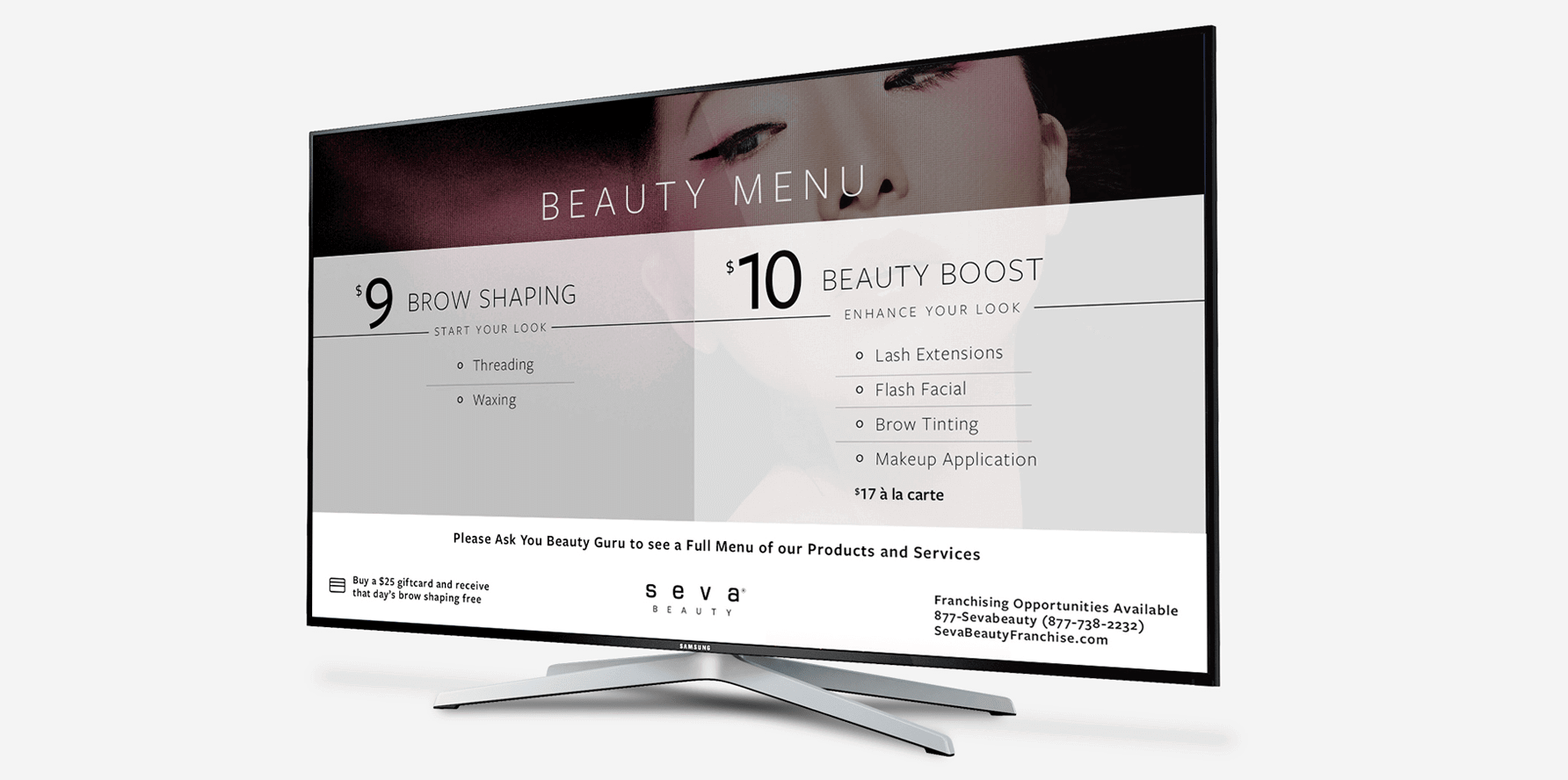 SEVA Beauty TV Menu Design