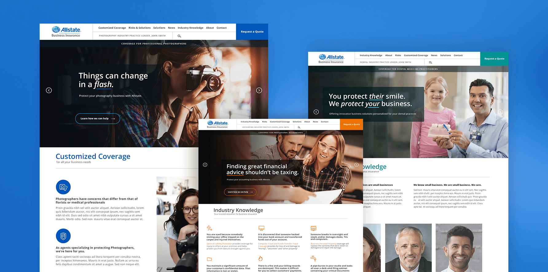 Allstate Vertically-Focused Partner Websites